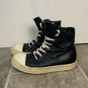 Rick Owens Black High Top Sneakers